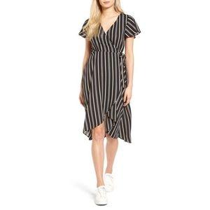 Black, White, & Cream Striped Midi Wrap Dress